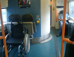 Wheelchair space on Southeast train