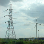 UK: Dagenham, pylon next to wind turbine [Picture by David Walters]